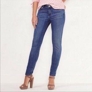 "LC Lauren Conrad 9"" Rise Blue Skinny Jeans Size 8"